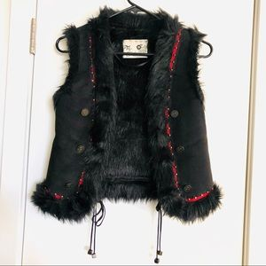 ZARA Black and red Suede & faux fur vest